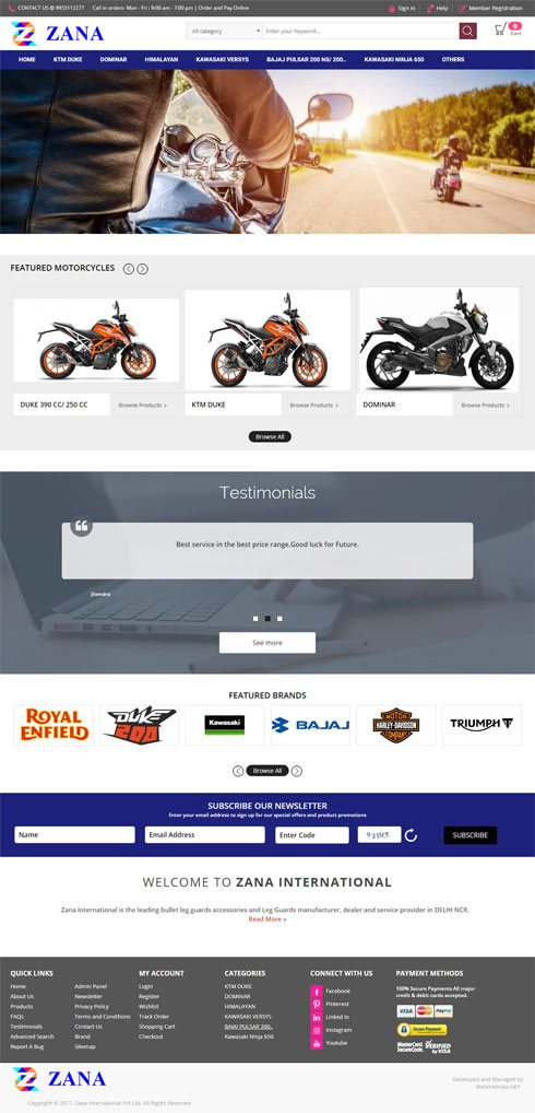 Zana International Pvt Ltd. - Web Design Portfolio