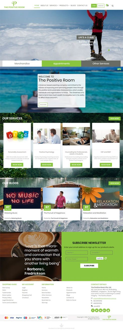 The Positive Room Singapore Web Design