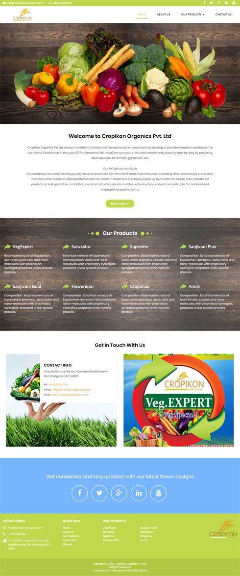 Cropikon Organics Pvt. Ltd India Web Design