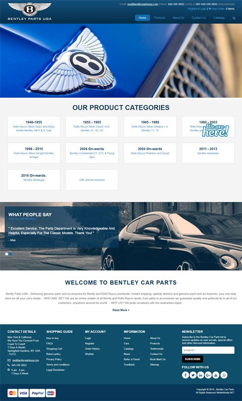 Bently Parts USA United States Web Design