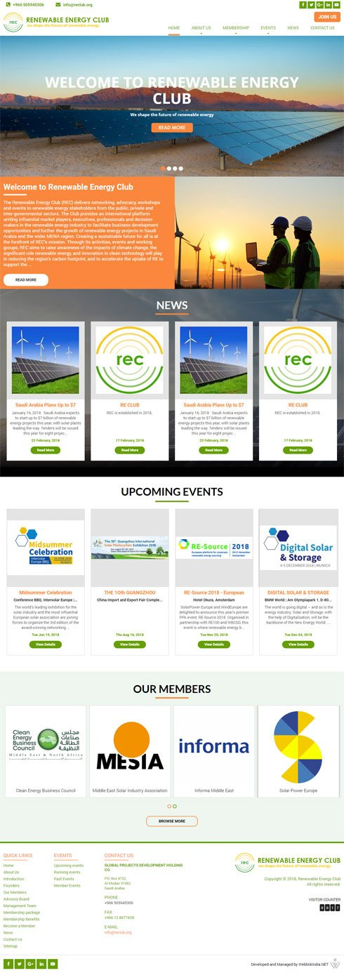 Renewable Energy Club United Arab Emirates Web Design