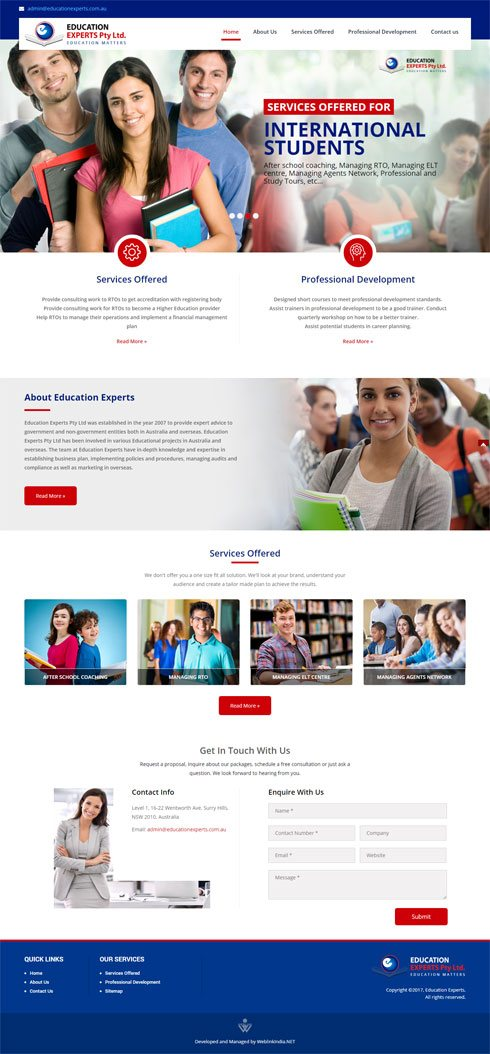 Education Experts Pty Ltd Australia Web Design