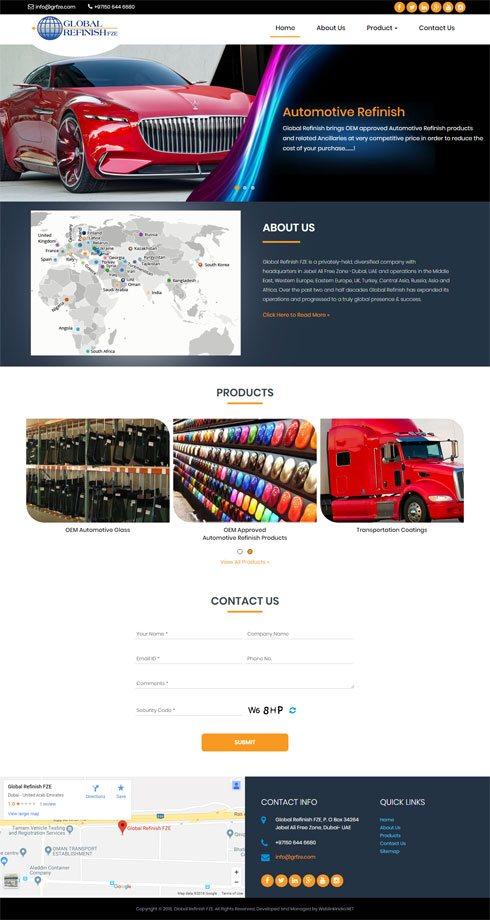 Global Refinish FZE United Arab Emirates Web Design