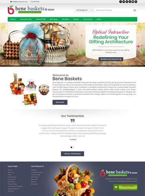 Bene Baskets India Web Design