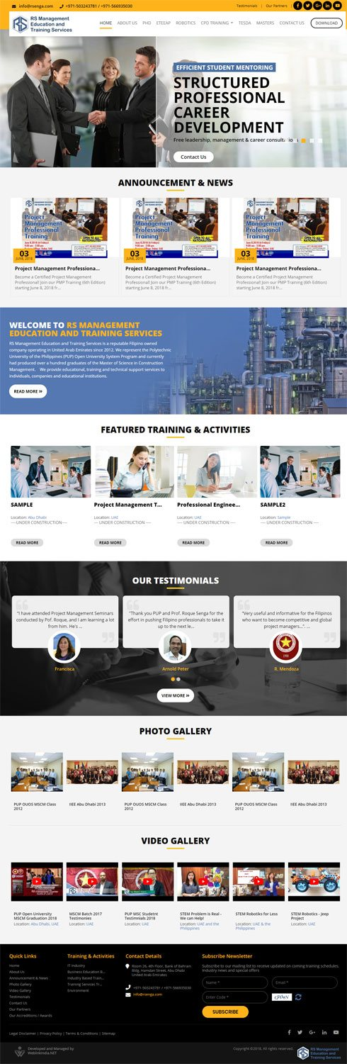 RS Management Education and Training Services  United Arab Emirates Web Design