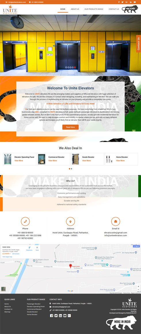 Unite Elevators India Web Design