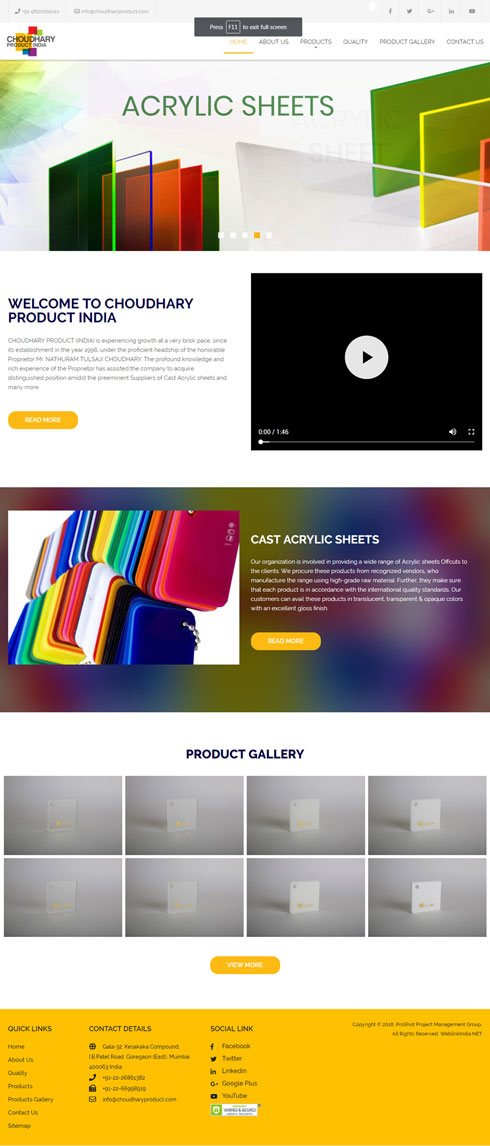 ProShot Project Management Group India Web Design