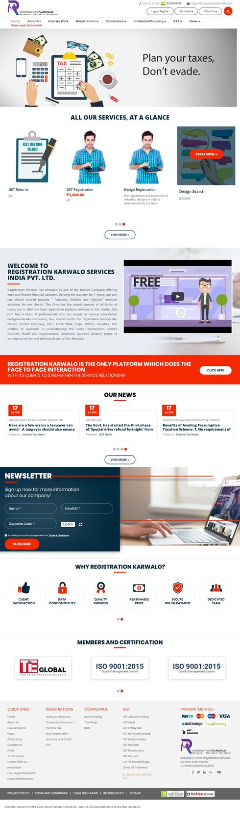 Registration Karwalo India Web Design