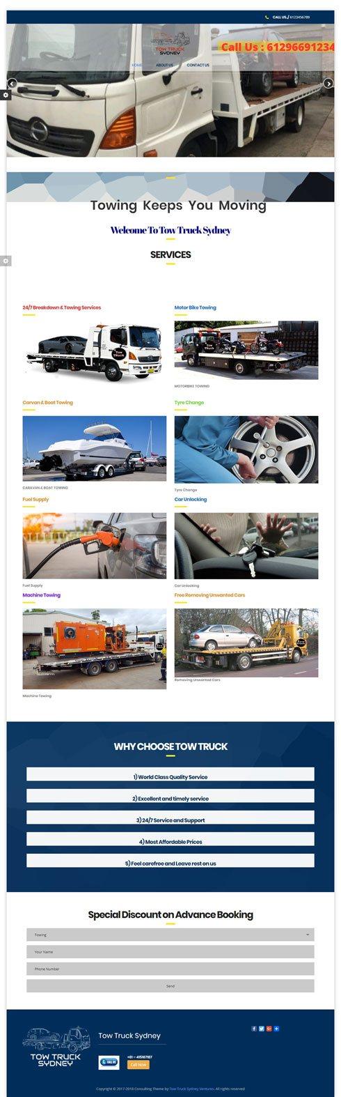 Tow Truck Sydney Australia Web Design