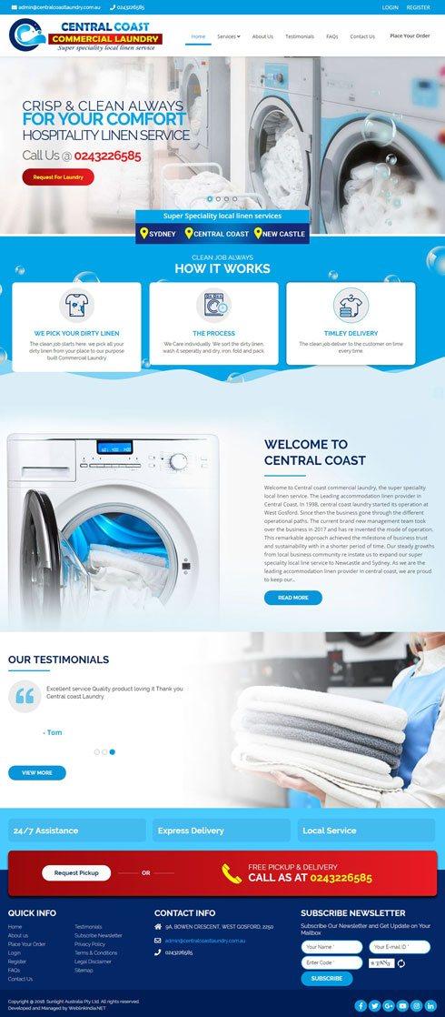 Central coast commercial laundry Australia Web Design