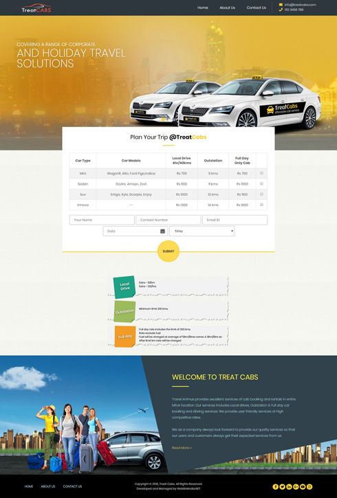 Treat Cabs India Web Design