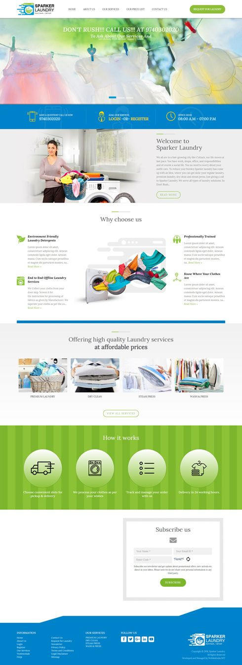 Sparker Laundry India Web Design