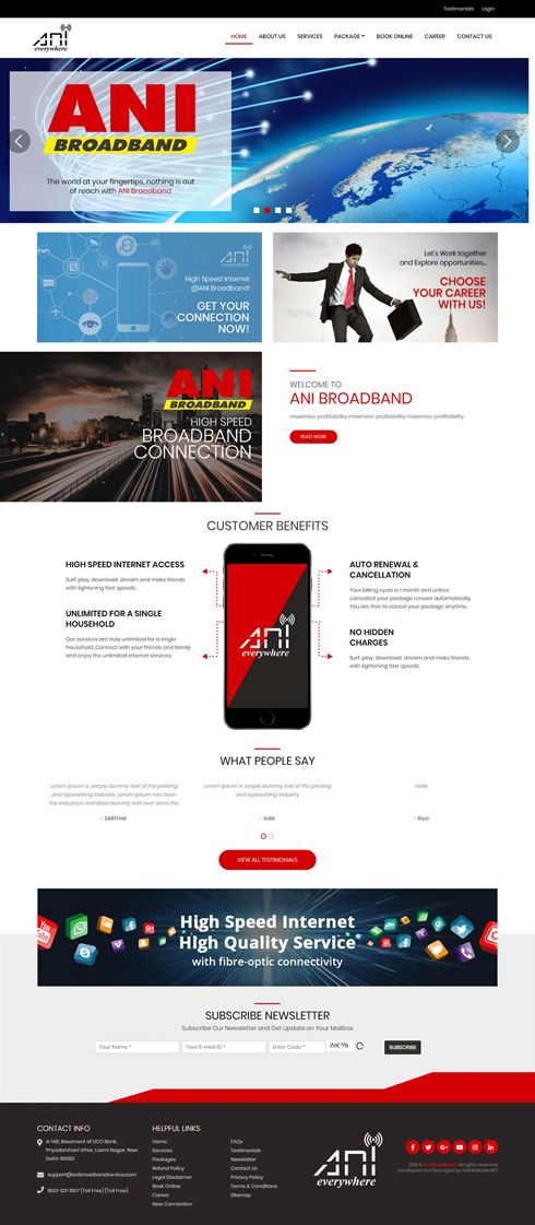 ANI BroadBand India Web Design