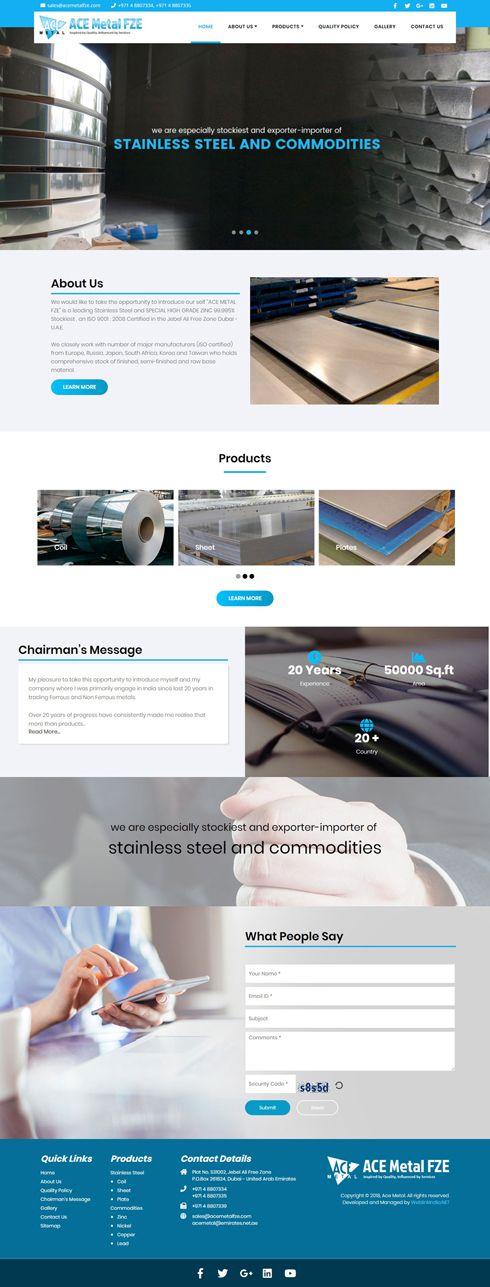 Ace Metal United Arab Emirates Web Design