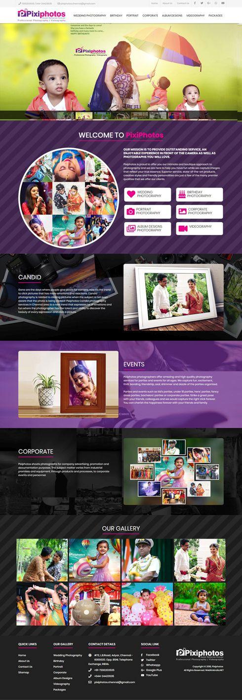 Pixiphotos India Web Design