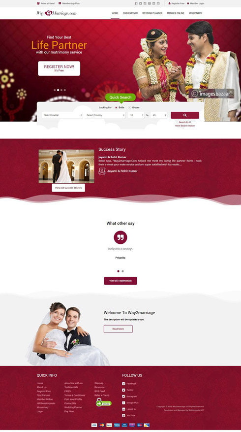 Way2marriage India Web Design