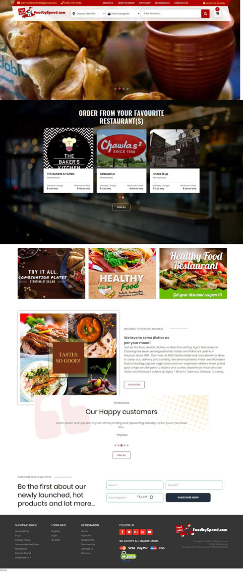 Food by Speed India Web Design