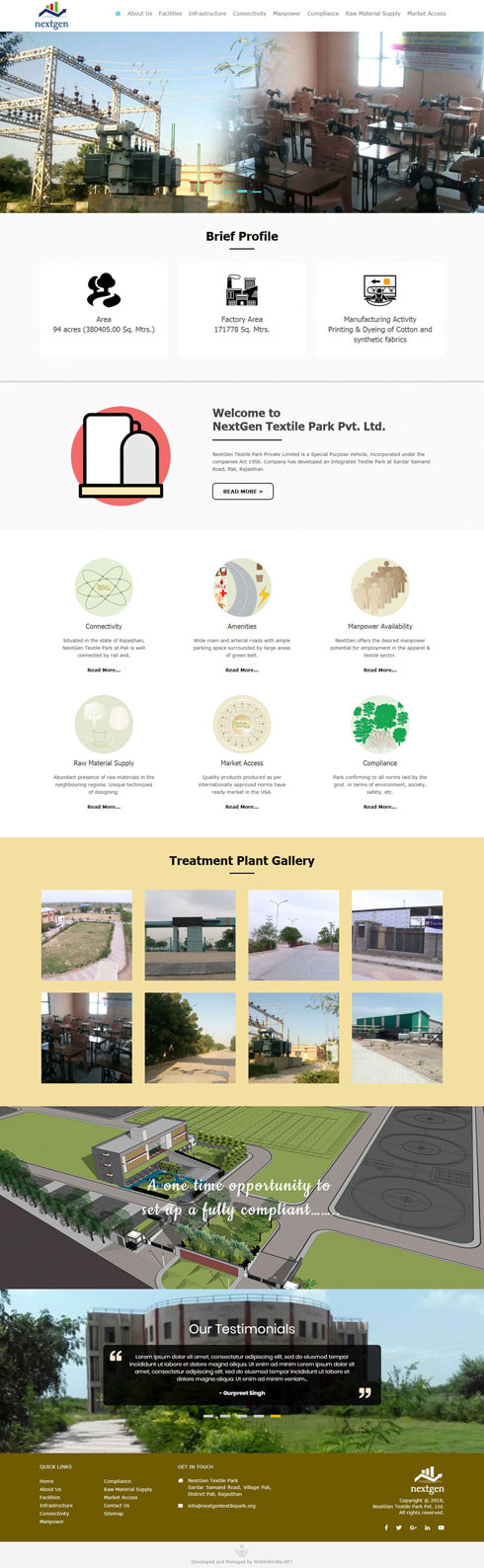 NextGen Textile Park Pvt. Ltd. India Web Design