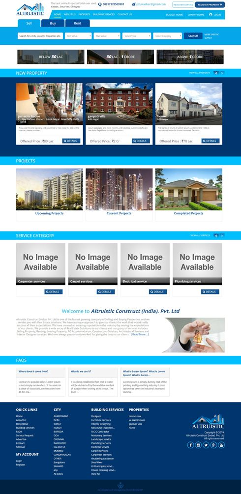 Altruistic Construct (India). Pvt. Ltd. India Web Design