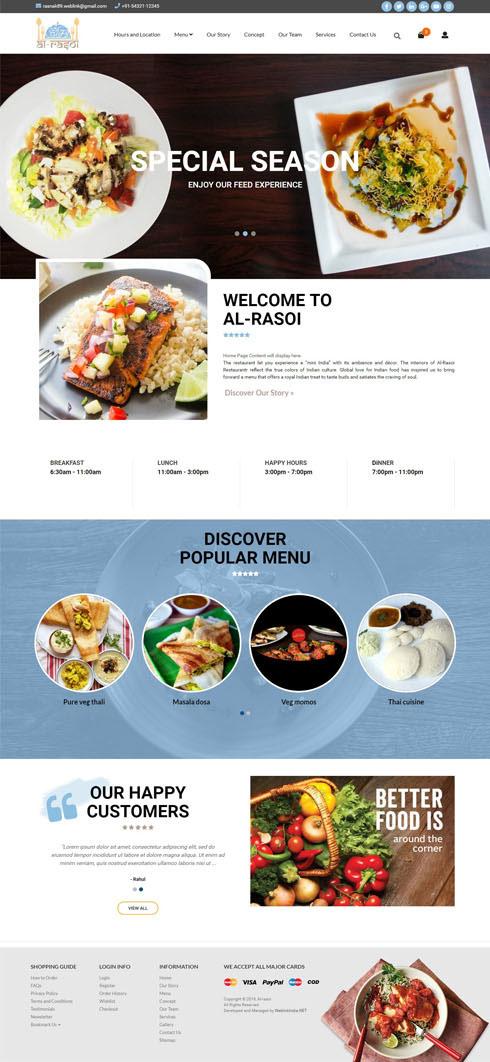 Al-rasoi India Web Design