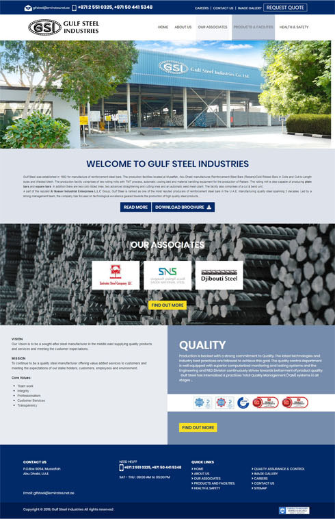 Gulf Steel Industries United Arab Emirates Web Design