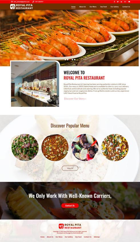 Royal Pita Restaurant United Arab Emirates Web Design