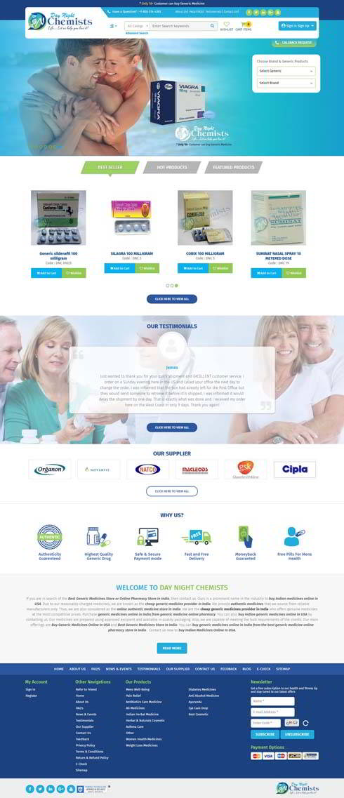 Day Night Chemists India Web Design