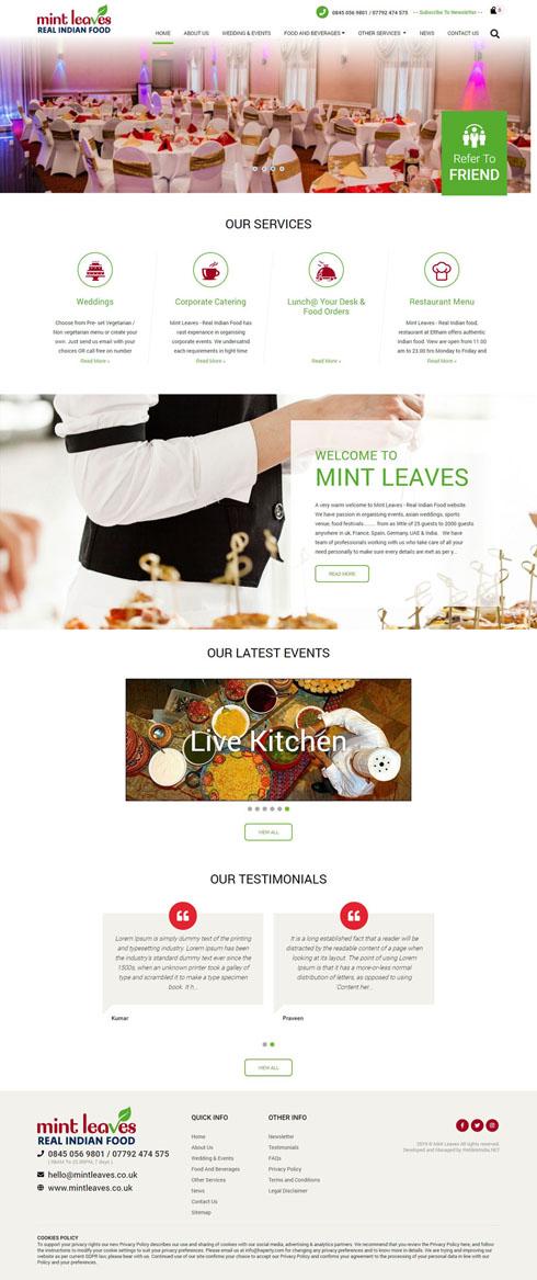 Mint Leaves United Kingdom Web Design