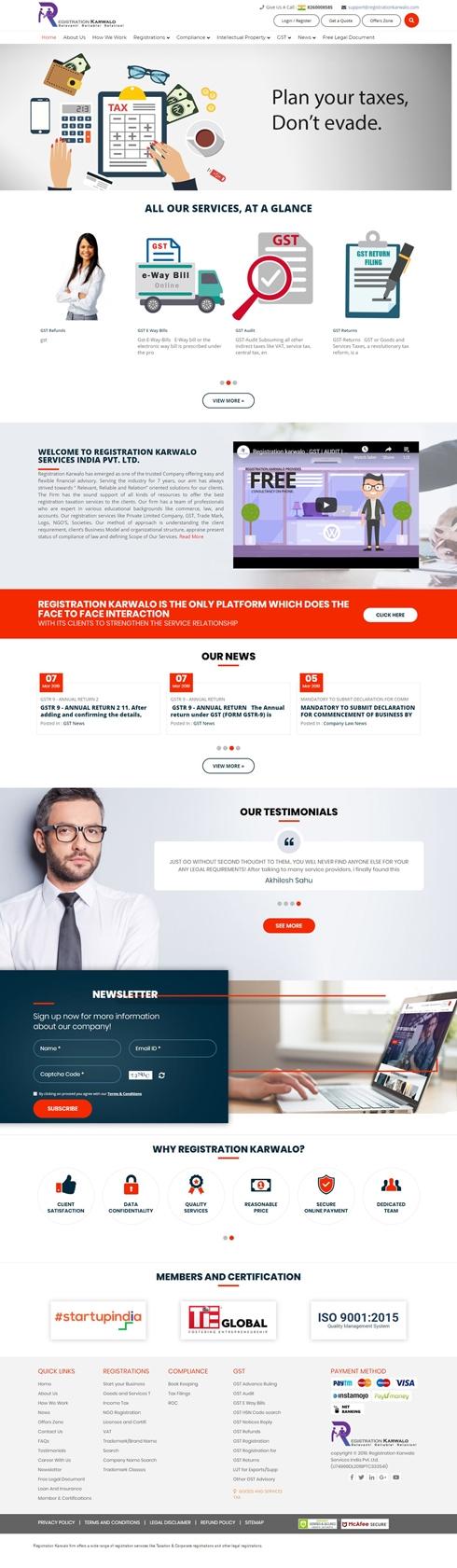 Registration Karwalo Services India Web Design