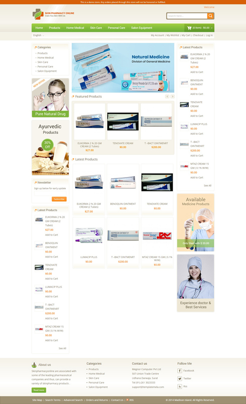 Skin Pharmacy Online United Arab Emirates Web Design