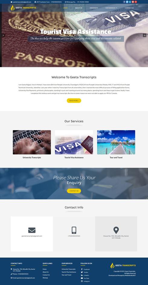 Geeta Transcripts India Web Design