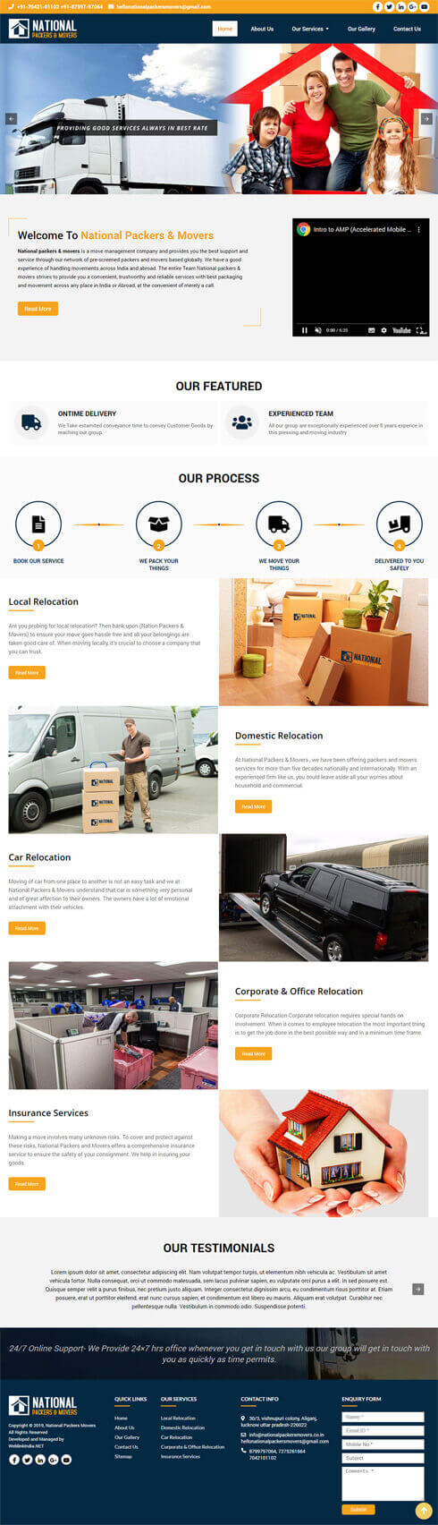 National Packers Movers India Web Design
