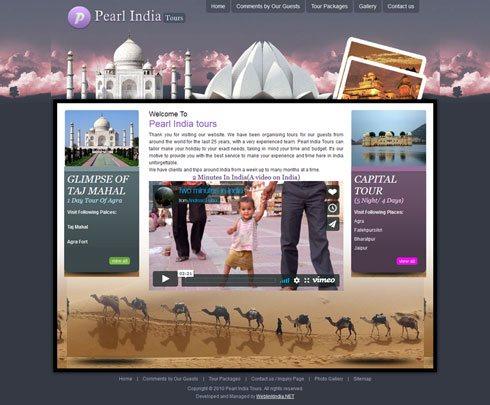 Pearl India tours India Web Design
