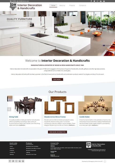 Interior Decoration & Handicrafts India Web Design