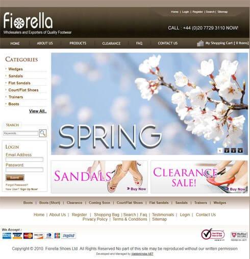 Fiorella Shoes Ltd. United Kingdom Web Design
